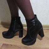 Молодежные демисезонные кожаные ботиночки на высоком каблуке, платформе.