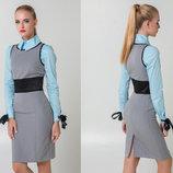 Женский сарафан-платье средней длины деловой стиль 5304 Тиар Пояс Атлас в расцветках.