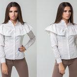 Стильная женская рубашка 5311 Хлопок Полоска Волан в расцветках.