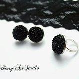 Нарядный вечерний комплект украшений Черные серьги клипсы из хрусталя ручной работы и кольцо