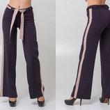 Стильные женские широкие брюки 5309 Клёш Лампасы Пояс Контраст в расцветках.