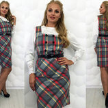 Стильное женское платье-сарафан в больших размерах 076 Пуговка .