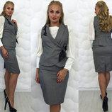 Элегантный женский костюм юбка жилет в больших размерах 080 Ромашка .