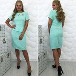Элегантное женское платье в больших размерах 081 Сакура Баска в расцветках.