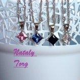 Комплект, набор стерлинговое серебро кулон, цепочка и серьги ромбик белый, розовый, синий, чёрный