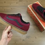 Кеды Vans Old Skool Winter Edition Bordo, зимние вансы с мехом