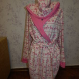 халат флисовый с капюшоном мягкий тёплый р10-12