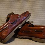 Капитальные фирменные кожаные топсайдеры коньячного цвета Chatham 43,5