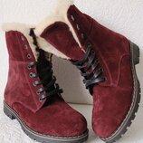 Супер зимние стильные женские сапоги ботинки Timberland теплые замша цвет марсала