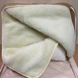 одеяло детское зимнее из овчины шерсть овечья шерстяное плед флис флисовое 105х145см.