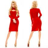 Элегантное тёплое женское платье средней длины 162 Джерси Миди Вырез Окошко в расцветках.