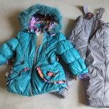 детский зимний костюм куртка и комбинезон на девочку