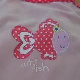 Купальник девочке детский 86 см розовый рыбка горох как новый