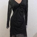 Платье с шерстяной подкладкой миди приталенное с ажуром фирменное Perla Nera размер 46-48