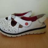 Туфли девочке 36 р стелька 23 см Rieker Рикер оригинал фирменные кожаные белые с открытой пяткой