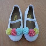 Туфли девочке 23 р стелька 14,5 см Young Dimension Янг Дайменшн оригинал кожаные белые