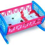 Пластиковая кроватка с постелью качалка люлька в сетке Бамсик 006/1 кровать для пупса