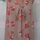 Летняя блузочка полупрозрачная с бантом-галстуком 46-48 размер