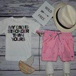 9 - 12 месяцев 80 см H&M обалденная фирменная натуральная футболка футболочка мальчику с надписями
