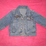 Красивый джинсовый пиджак. р.80-86.