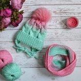 Детский комплект шапка косами и снуд градиент ручной работы