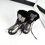 Зимние ботинки с меховой опушкой, Натуральная кожа