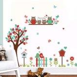Интерьерная наклейка Дерево и 4 совы