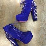 ботинки шипы синие натуральная замша 38р