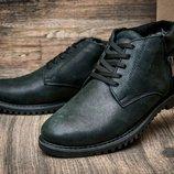 Зимние ботинки на меху Trike, мужские, натуральная кожа, черные .