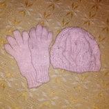 комплект шапка перчатки вязанные из Германии на девочку 7-10 лет