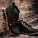 Зимние ботинки мужские Levi's, черные, натуральная кожа,