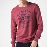 Бордовый мужской свитшот De Facto с надписью на груди New York City