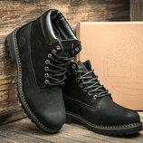 Ботинки зимние мужские Timberland, нубук, натуральная кожа. Черные.