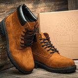 Ботинки зимние мужские Timberland, нубук, рыжие, натуральная кожа