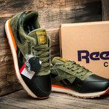 Цена снижена Зимние кроссовки Reebok Classic, мужские, на меху, черные с зеленым