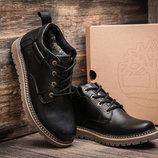 Зимние мужские ботинки Timberland, черные, натуральная кожа