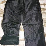 Теплые плащевые штаны для девочки на флисе 3-8 лет Распродажа