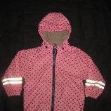 3-4 года, тёплая демисезонная курточка дождевик, в точечку