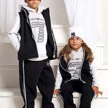 Детский тёплый спортивный костюм-тройка на байке 82 Armani в расцветках.