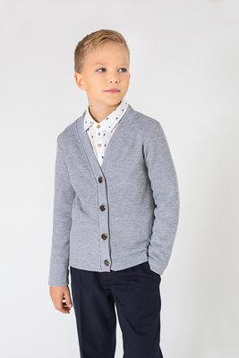 f7e3088349c4 Детская кофта на пуговицах кардиган жакет для мальчика в школу 116 122 128  134 серый