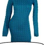 Длинное теплое вязаное платье в расцветках Размер один 46-48