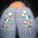 Варежки рукавицы теплые пушистые с вышивкой камнями ручная вязка