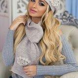 Берет и шарф теплый и очень красивый 11 расцветок