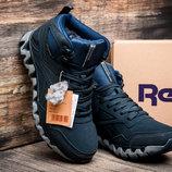 Зимние мужские кроссовки Reebok Gore Tex, на меху, темно-синие