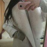 Шикарное кашемировое пальто. Натуральный песец