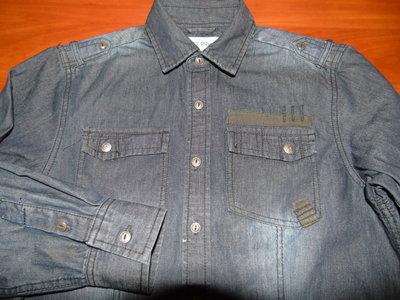 Отличная джинсовая тёплая рубашка на подростка - 10 - 14 лет
