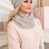 женский комплект Жаклин шапка и хомут в разных цветах 4557-7