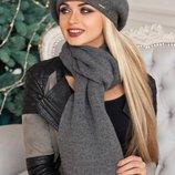 женский комплект берет и шарф Вива в разных цветах 3000-10