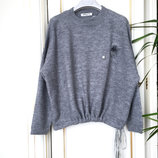Гламурный свитер оверсайз с кулиской шерсть брошь мех Италия люкс S/M серый