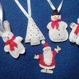 Елочные игрушки из фетра,новогодний декор